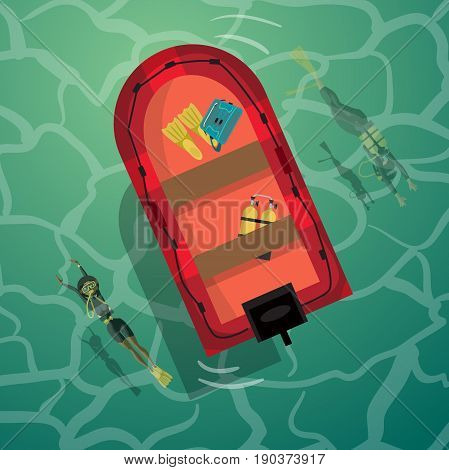 Young women scuba diver dives under the sea into the sea. View from above. Vector flat cartoon illustration