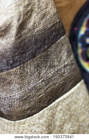 Fish Skin Fabric Close Up In Details. Traditional Ethnic Craft Of Preparing Clothes From Salmon Skin