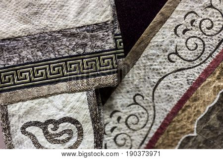 Fish Skin Decorated Clothes Parts. Ethnic Fabric With Tradional Asian Ornaments.original Nanai Hand