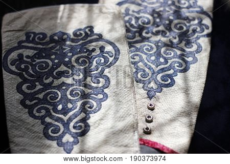 Sleeve Protectors Made Of Real Fish Skin With Traditional Ethnic Nanai Ornaments. Asian Style Clothe