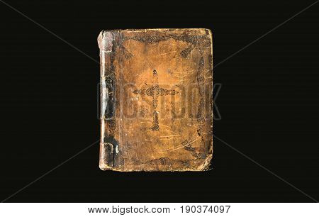 Antique Book Isolated On Black Background. Ancient Bible With Cross On Hard Brown Cover. Great Book