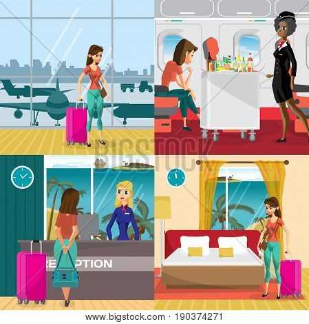 Travel to the warm regions concept banners. Airport plane hotel room. A woman on vacation comes to the beach. Vector flat cartoon illustration
