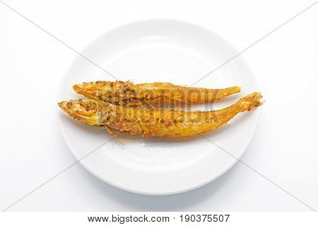 Crisp Fried Fish Isolated on White Background