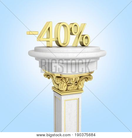 Gold Text 40 Percent Off Standing On The Pedestal Isolated On Blue Gradient Background 3D Render