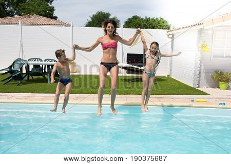 Happy Family Jump In Pool For Fun