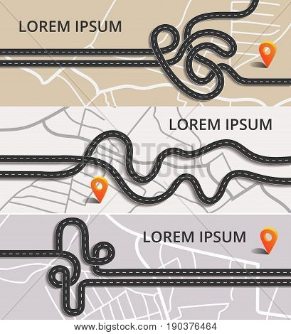 Three horizontal banners with different winding roads, cars, trucks, traffic on map and orange pin. Traffic jam on  highway.