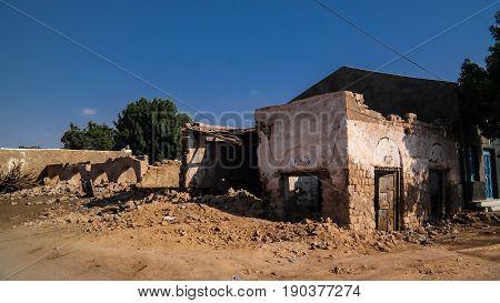 Ruined house on the street of Berbera in Somaliland Somalia