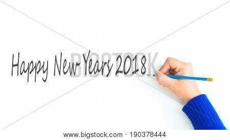 woman hand show writing texts 'Happy Newyears 2018