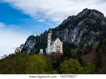 Neuschwanstein castle the famous viewpoint in Fussen Bavaria Germany
