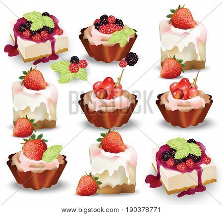 Set of delicious sweets and desserts with fruits. Summer confectionary bakery treats Vector