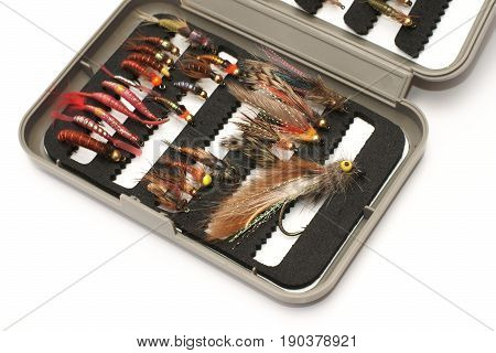 Fly fishing bait box , on a white background