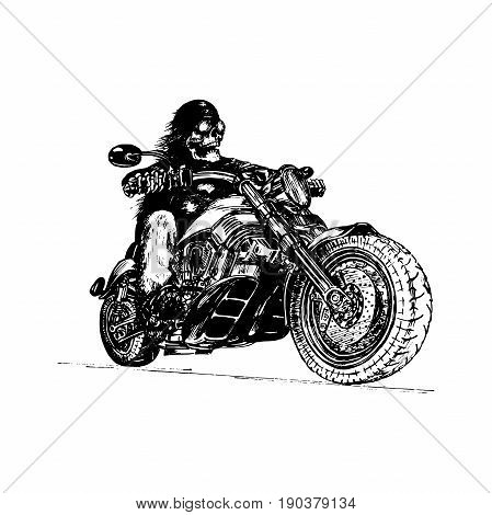 e0b58ed5 Vector hand drawn skeleton rider on motorcycle. Vintage eternal biker  illustration for custom chopper logotype