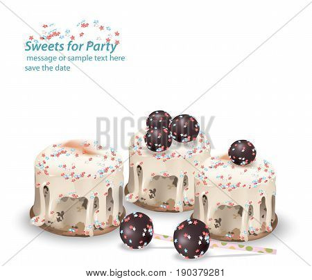 Delicious festive sweets and desserts for a party. Summer confectionary bakery treats Vector