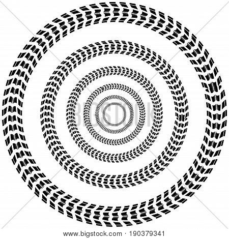 White abstract background with circle tire tracks