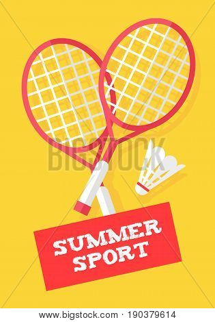 Badminton rackets and shuttlecock on yellow background. Summer sport banner. Flat style. Vector.