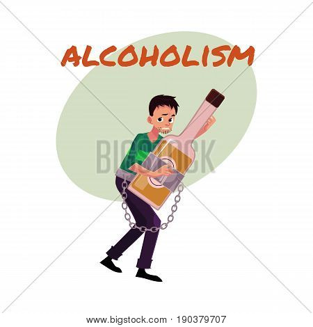Alcohol dependence poster, banner template with man holding bottle of liquor, chained to it, alcohol dependence, abuse, disorder, cartoon vector illustration isolated on white background.