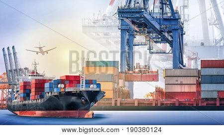 Container cargo ship and cargo plane with port crane bridge in harbor at sunset sky Freight Transportation Shipping