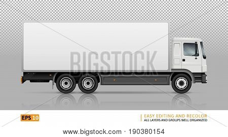 Semi truck template for car branding and advertising. Isolated cargo vehicle on transparent background. All layers and groups well organized for easy editing and recolor. View from right side.
