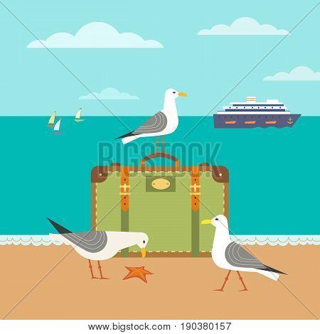 Nautical poster concept. Seagulls on sandy beach. Hand drawn cartoon style. Seaside vacation design element. Retro vintage seashore scene. Marine vessel sailing sign symbol. Coast vector background