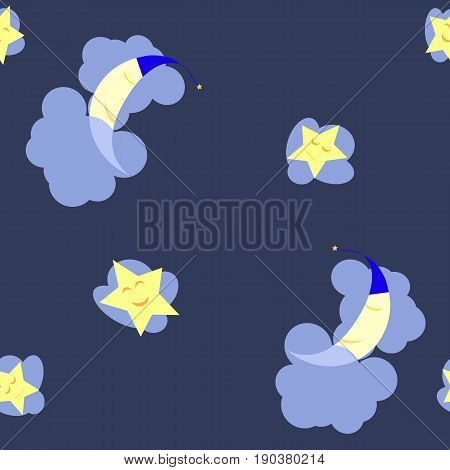Seamless pattern with sleeping moon and stars in the dark blue midnight sky. The moon lies on a cloud covered by another cloud the stars just rest on the clouds. You can use it as background.