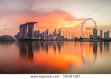 Singapore skyline at sunset time in Singapore city