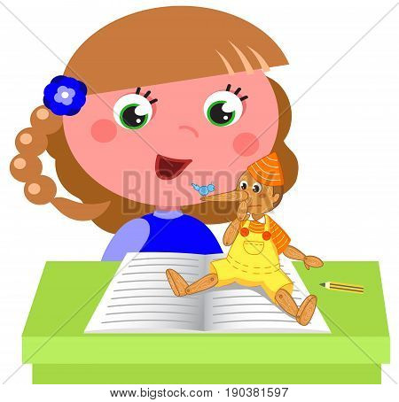 Cartoon child reading italian tale Pinocchio at school vector illustration