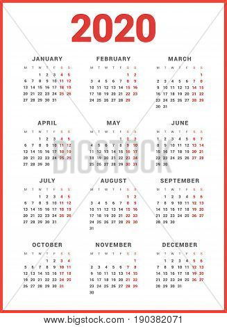 Calendar For 2020 Year On White Background. Week Starts Monday. Simple Vector Template. Stationery D