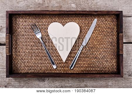 Wooden Heart With Fork And Knife