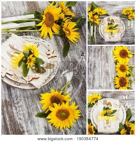 Tableware and silverware with decorations from sunflowers soft focus background