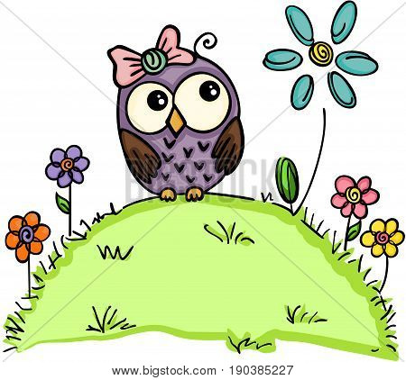 Scalable vectorial image representing a cute owl in a garden with flowers, isolated on white.