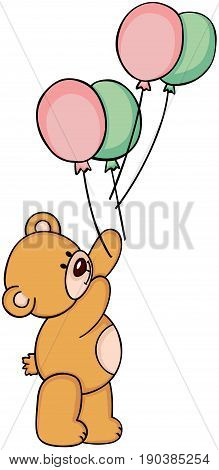 Scalable vectorial image representing a teddy bear balloon drop, isolated on white.