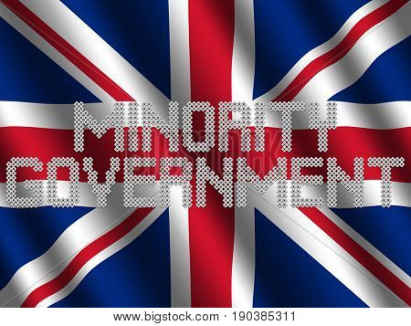 Minority Government text of votes on rippled British flag illustration