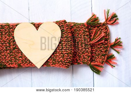 Wooden Heart And Red-green Woolen Scarf