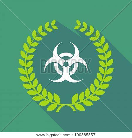 Long Shadow Laurel Wreath With A Biohazard Sign
