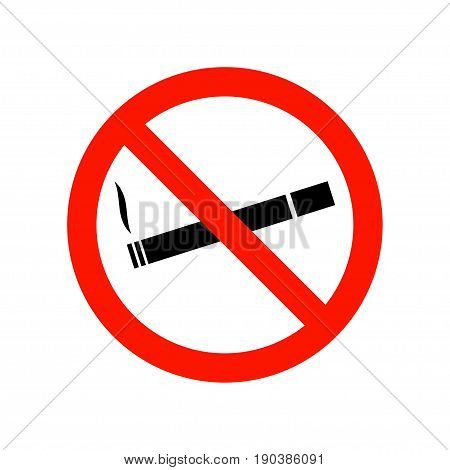 No smoking warning icon. Flat design style