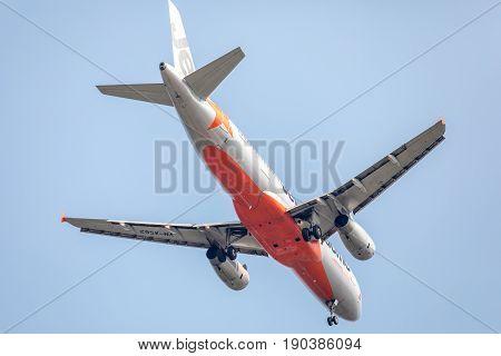 Bangkok, Thailand. - April 23, 2017 : Plane of Jetstar Pacific Airways on the sky landing to Suvanabhumi airport.