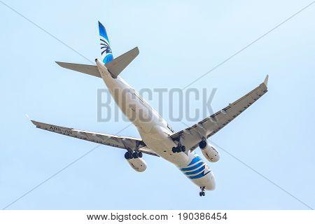 Bangkok, Thailand. - April 22, 2017 : Plane of Egyptair Airways on the sky landing to Suvanabhumi airport.
