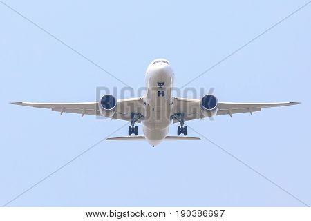 Unspecify Air Plane of on the sky landing to the Suvanabhumi airport.
