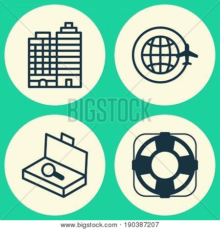 Tourism Icons Set. Collection Of Hotel, World Travel, Suitcase Checking And Other Elements. Also Includes Symbols Such As Earth, Complex, Lifebuoy.