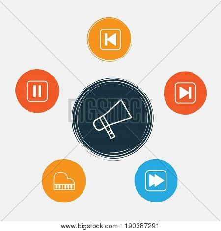 Audio Icons Set. Collection Of Bullhorn, Skip Song, Following Song And Other Elements. Also Includes Symbols Such As Forward, Rewind, Button.