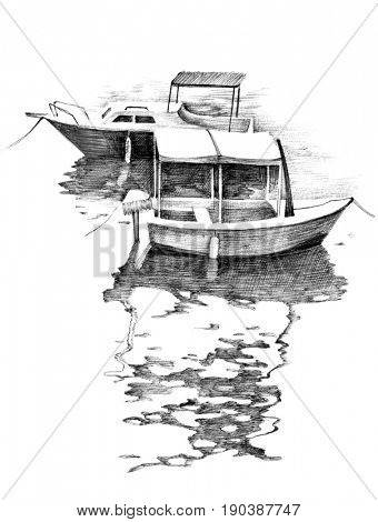 Hand drawn black and white small boats with reflections