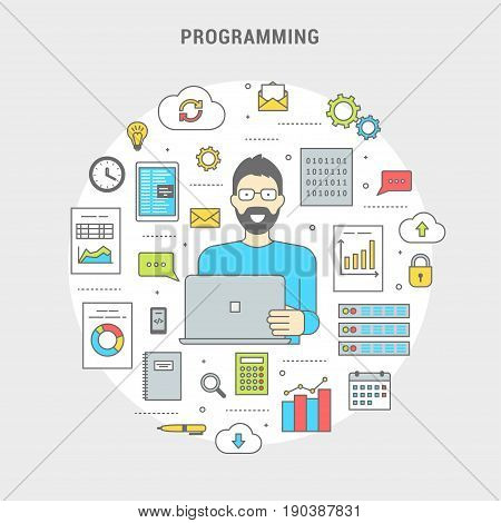 Development and programming concept banner. Digital devices, programmer creating computer software, mobile applications. Line flat design symbols and icons in circle. Vector illustration