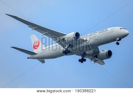 Bangkok, Thailand. - April 23, 2017 : Aircraft or Plane of JAL or Japan Airlines on the sky landing to Suvanabhumi airport.