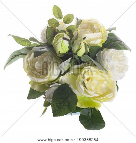 Floral Composition With White Peonies And Green Roses