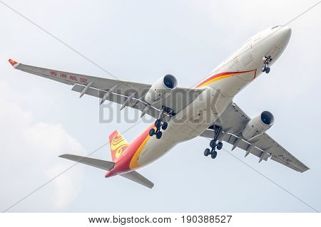 Bangkok, Thailand. - April 23, 2017 : Plane of Hongkong Airways or Airlines on the sky landing to Suvanabhumi airport.