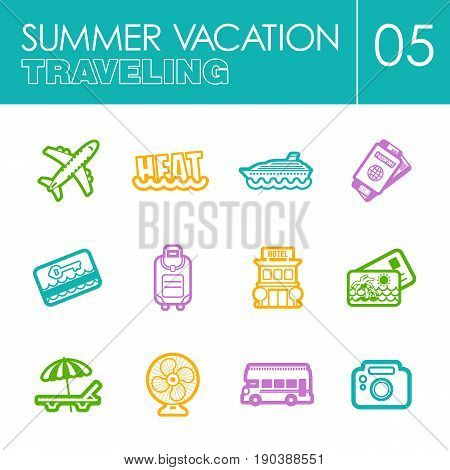 Traveling outline vector icon set. Summer time. Vacation, eps 10