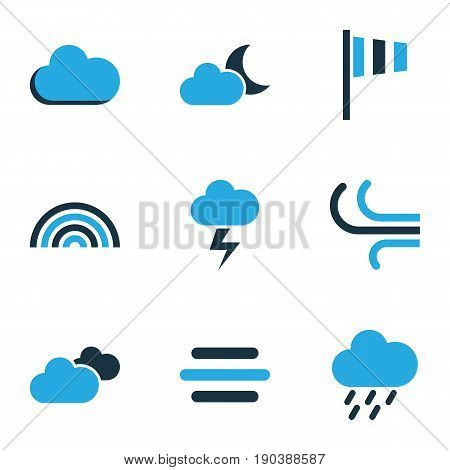 Weather Colorful Icons Set. Collection Of Arc, Wind Speed, Moonshine And Other Elements. Also Includes Symbols Such As Fog, Rain, Storm.