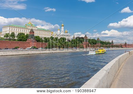 Russia, Moscow, June 8, 2017:  View Of Embankments, Kremlin Towers In Moscow