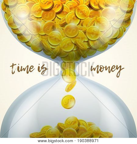 Hourglass of golden coins with dollar sign. Time is money concept. Vector illustration.