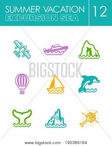 Excursion sea outline vector icon set. Summer time. Vacation, eps 10